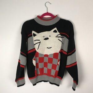 VTG Chorus Line Knit Striped Cat Sweater Grey S